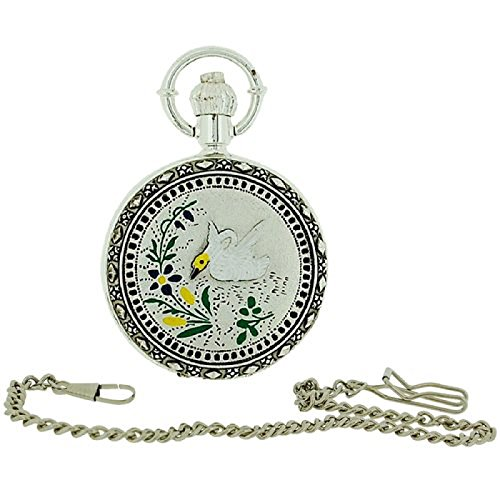 Jakob Strauss Silver Tone Swan Fancy Cover Ladies Pocket Watch + Chain JAST48