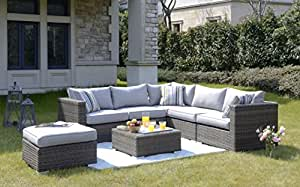 Homewell Outdoor Wicker Lounge Conversation Sofa Set with L Shaped Sofa, Table with Glass Top and Cushioned Ottoman (Brown Wicker w/ Light Grey Seat & Back)