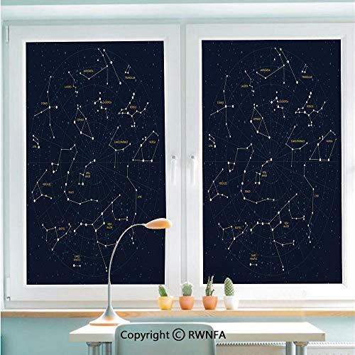 RWNFA Window Films Privacy Glass Sticker Sky Map Andromeda Lacerta Cygnus Lyra Hercules Draco Bootes Lynx Static Decorative Heat Control Anti UV 22.8In by 35.4In,Dark Blue Yellow White ()