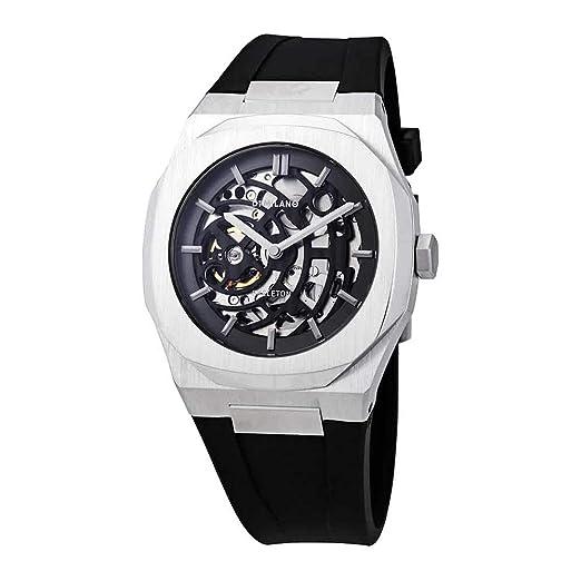 D1 Milano - Reloj Skeleton automática reloj movimiento Apparent - Cubierta plateado 41.5 mm - pulsera silicona negro - hombre: Amazon.es: Relojes