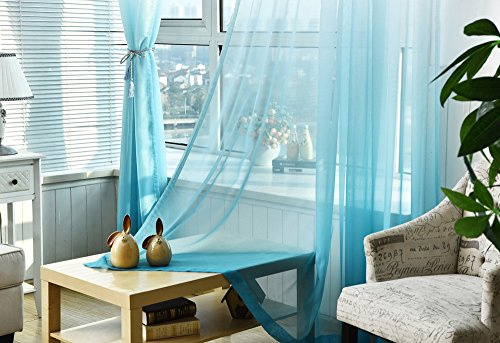 Guo Nuoen Gradient Color Voile Curtain Tulle Door Shop Window Drape Washable Panel Home Decor Sheer Scarf Valances]()