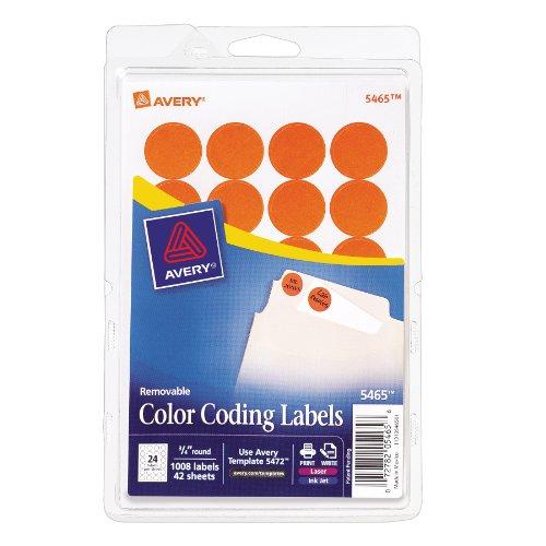 UPC 072782054656, Avery Print/Write Self-Adhesive Removable Labels, 0.75 Inch Diameter, Orange, 1008 per Pack  (5465)