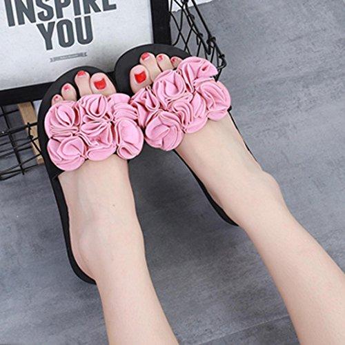 Pantoufles Chaussures Rose Sandales Blanche Air De Plage Sandales Femme Estivales Espadrilles D'IntéRieur Beautyjourney Femmes Sandale en Plein Chaussure Femme UvnZp