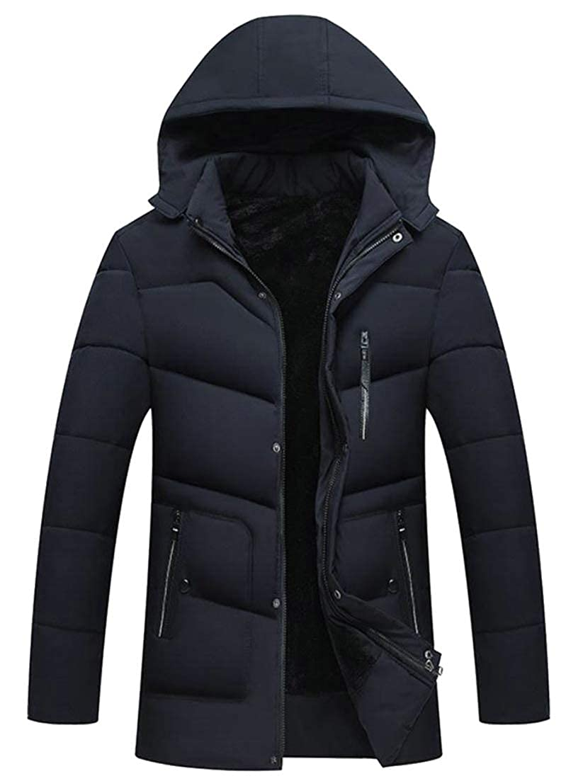 Pandapang Mens Fleece Outerwear Mid-Long Hooded Winter Slim Quilted Parka Jacket