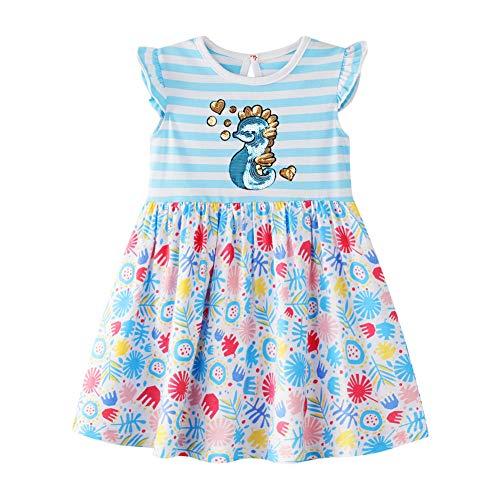 HILEELANG Cute Toddler Girls Summer Dresses Sleeveless Tank Top Cotton Casual Tunic Shirt Dress Party Sundress