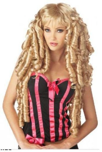 Women Blonde Storybook Deluxe Long Wig Curls Cosplay Party Wigs (Storybook Beauty Costume)