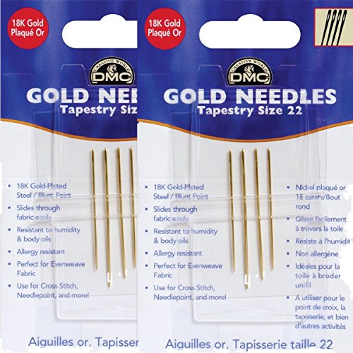 (2 Pack Bundle: Gold Tapestry Needles, Size 22)