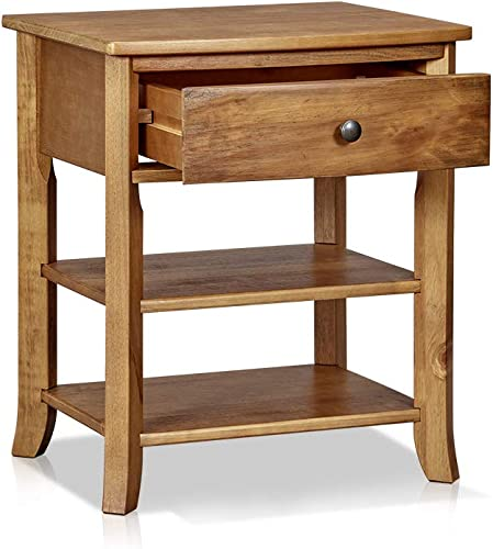 MUSEHOMEINC Rustic Wood 3-Tier Nightstand with Storage Shelf and Drawer for Bedroom or Living Room Round Metal Knobs Heritage Collection Furniture End Table Side Table, Teak Finish