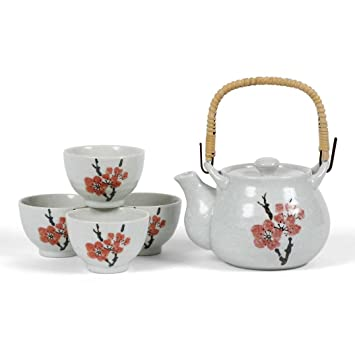 Japanese Stoneware Tea Set Gift Set With Tea Pot And Four Cups, Red Plum By