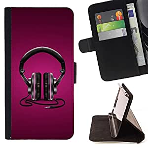 DEVIL CASE - FOR Apple Iphone 5C - Purple Headphones - Style PU Leather Case Wallet Flip Stand Flap Closure Cover