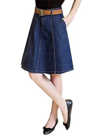 Falda Vaquera Kneilang Damas con Bolsillo Falda Swing A Mode De ...
