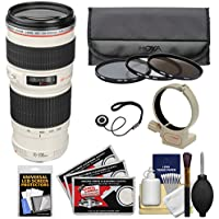 Canon EF 70-200mm f/4 L USM Zoom Lens with Tripod Collar with 3 Hoya UV/CPL/ND8 Filters + Kit for EOS 6D, 70D, 5D Mark II III, Rebel T3, T3i, T4i, T5, T5i, SL1 DSLR Cameras