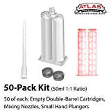 Atlas Pro 50ml/1.7oz Empty 1:1 Ratio Dual-Barrel Cartridge Kit (50-Pack) w/ Hand Plungers, Mixers & Sealing Pistons