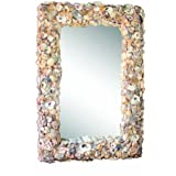 Creative Co-op Wood and Oyster Shell Mirror
