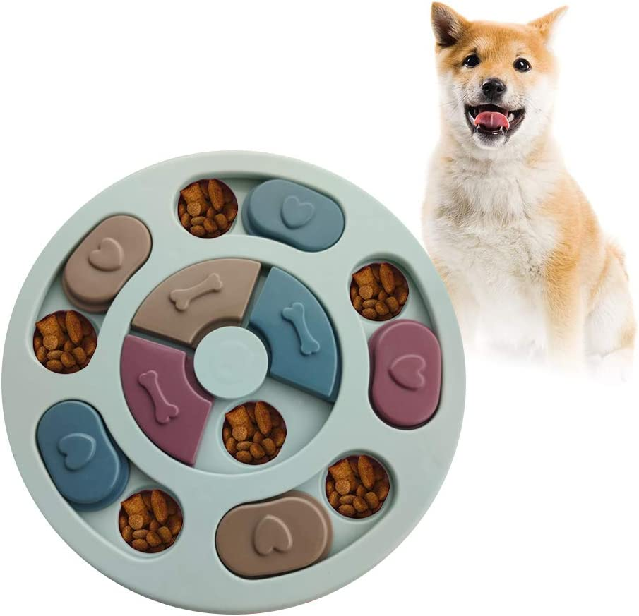 Andiker Dog Puzzle Feeder Toy, Durable Puppy Treats Dispenser Interactive Toys Slow Feeding, Cat Brain Games Training for Boredom, Improving IQ, 3 Colors