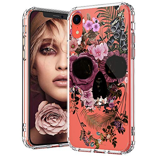 MOSNOVO iPhone XR Case, Clear iPhone XR Case, Floral Skull Flower Pattern Clear Design Transparent Plastic Hard Back Case with Soft TPU Bumper Protective Case Cover for Apple iPhone XR