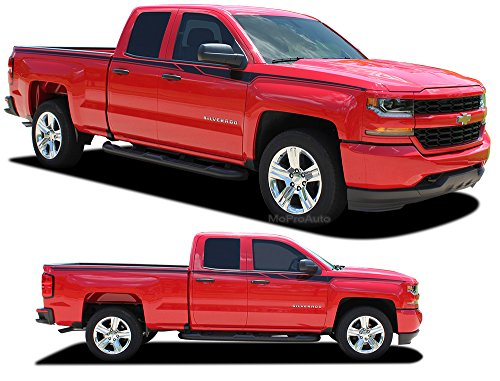 Kit Graphic Accelerator - ACCELERATOR : 2014 2015 2016 2017 2018 Chevy Silverado Upper Body Line Door Accent Vinyl Graphic Package Stripe 3M Decal Kit (FITS ALL MODELS) (Color-3M 02 Gloss Black)
