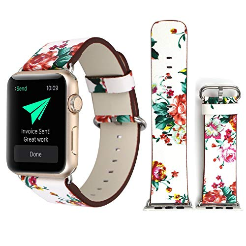 Jurich Flower Design Strap for iWatch Floral Pattern Printed Leather Wrist Band Apple Watch Link Bracelet for Apple Watch Smartwatch Fitness Tracker Series 3 2 1 Version (Red+White, 42mm/44mm)