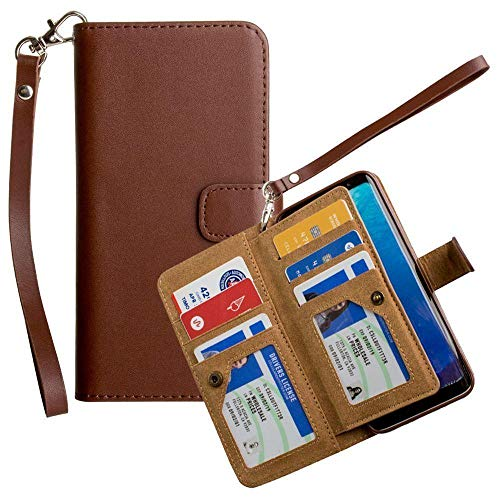 Galaxy S8 Wallet Case, Slim PU Leather with Multiple Credit Card Slots and Kickstand Features Wristlet for Women [Classic Multi-Card - Redwood -
