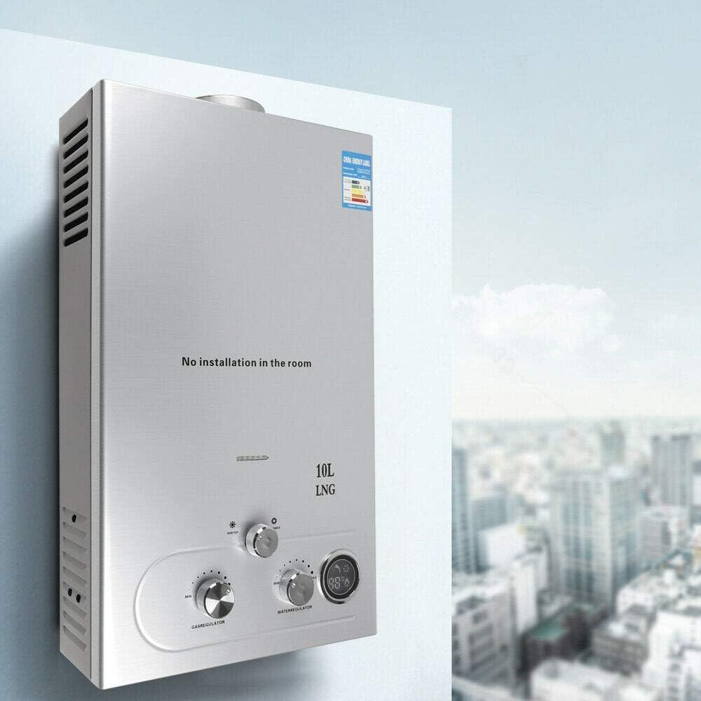 10L 36KW Elektrischer Durchlauferhitzer Erdgas Gas Warmwasserbereiter Warmwasserspeicher Boiler mit Dusche