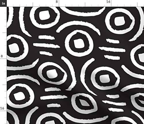 african mud-cloth Fabric - Tribal Geometric Black And White African Tribe Geometric Hand Drawn Abstract Black And White by Bethschneider Printed on Petal Signature Cotton Fabric by the Yard