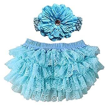 Fantastic Lace Headbands,Dealzip Inc Useful Lace HeadbandsGirl Baby Lace Underwears Nappy With a Flower Headband-Blue Size S