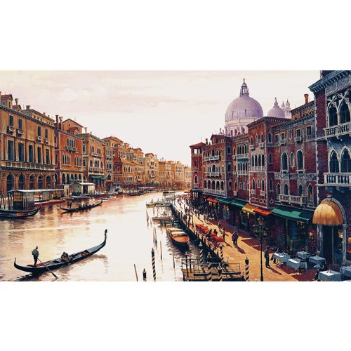 Futon Venice (Trademark Fine Art Canal of Venice Gallery Wrapped Canvas Art by Hava, 35 by 47-Inch)