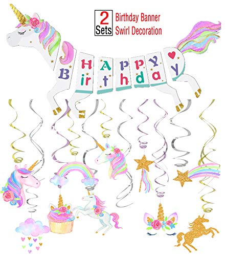 Unicorn Party Decoration Supplies-Unicorn Happy Birthday Banner-30ct Unicorn Hanging Swirl