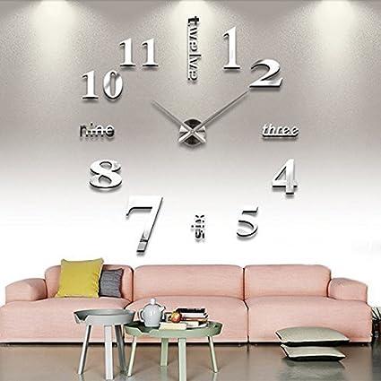 MFEIR® Reloj de Pared 3D con Números Adhesivos DIY Bricolaje Moderno Decoración Adorno para Hogar