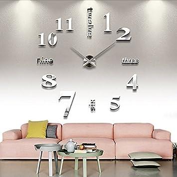 MFEIR® Reloj de Pared 3D con Números Adhesivos DIY Bricolaje Moderno Decoración Adorno para Hogar Habitación,blanco: Amazon.es: Hogar