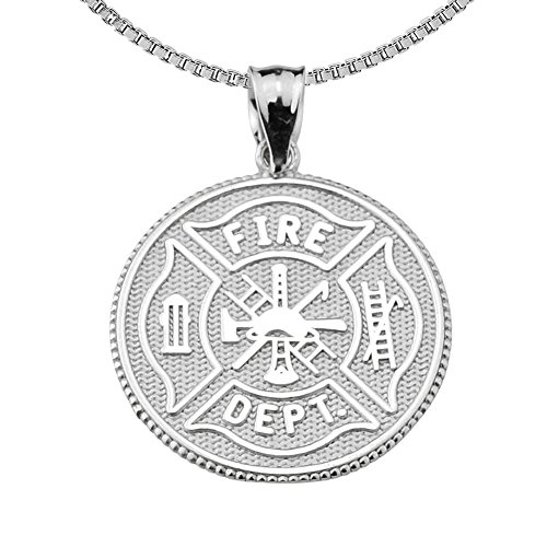 Firefighter Maltese Cross Sterling Silver with Prayer Blessing Pendant Necklace, 22
