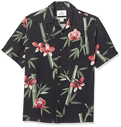 28 Palms Men's Relaxed-Fit 100% Silk Tropical Hawaiian Shirt, Black/Pink Bamboo Orchid, XX-Large