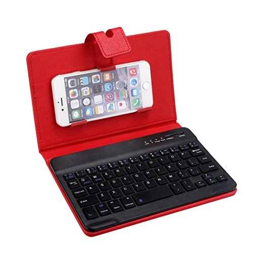 Bluetooth Keyboard, Lookatool Leather With Detachable Bluetooth Keyboard For 5-7Inch IOS, Android Phone (Red 1)