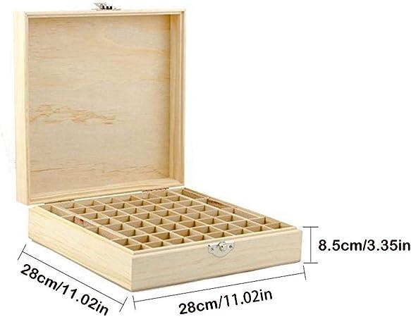 Caja de madera para aceite esencial, 58 compartimentos, para aromaterapia, esmalte de uñas, neceser, maletín de madera para aceite esencial de 5 ml, 10 ml y 15 ml: Amazon.es: Belleza