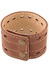 """NOVICA Men's Brown Leather Wristband Bracelet with Brass Snaps 'Riverbank', 7.5 - 8.25"""""""