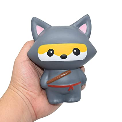 Cyswi Hand Toy for Stress Cute Ninja Cat Animal Shape Squeeze Healing Easter Gift Slow Rising Kids Collection Spoof Toys Soft Squishy Pressure ...