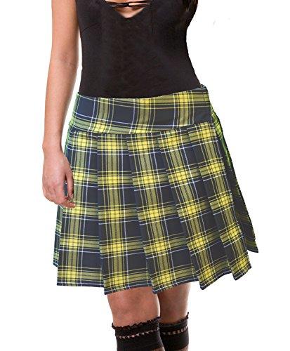 School Plaid Apparel Skirt (Plus Size Black-lemon Yellow Schoolgirl Tartan Plaid Pleated Skirt Long 2x)