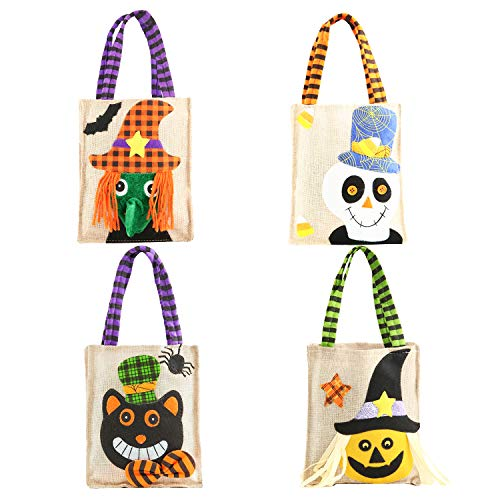 4pcs Halloween Burlap Candy Bags Handbag Monster Witch Black Cat Pumpkin Gift Treat Goodie Tote Bag for Kids Children Party Decorations Gifts