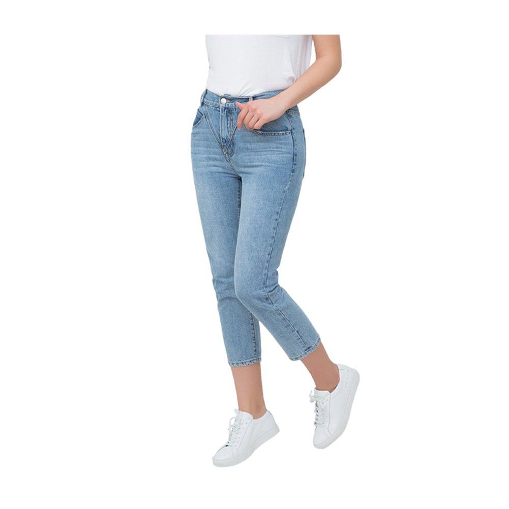 SLCH SVin Mom Straight Jeans, High Waisted Vintage Boyfriend Denim Pants Curvy Slim Light Blue Jeans for Women(27)