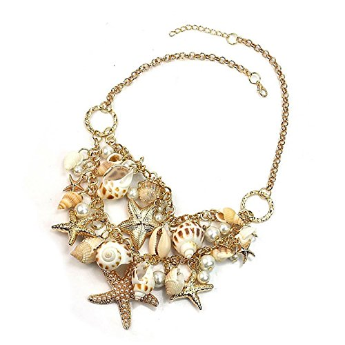 IDS Fashion Sweet Sea Shell Starfish Faux Pearl Collar Bib Statement Necklace