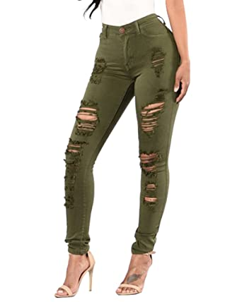 f5eba118b5e3 Women Ladies Jeans Pants Washed Denim Skinny Jeans Ripped Trousers Long  Pants 3 Colours for Choice: Amazon.co.uk: Clothing