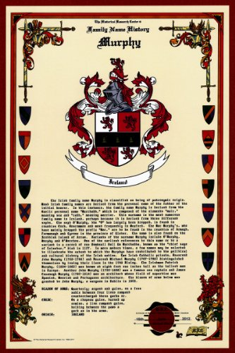 Murphy Coat of Arms/Crest and Family Name History, meaning & origin plus Genealogy/Family Tree Research aid to help find clues to ancestry, roots, namesakes and ancestors plus many other surnames at the Historical Research Center Store (Surname Crest Family)