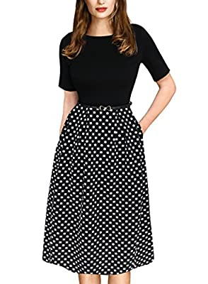 VfEmage Womens Vintage Summer Polka Dot Wear To Work Casual A-line Dress