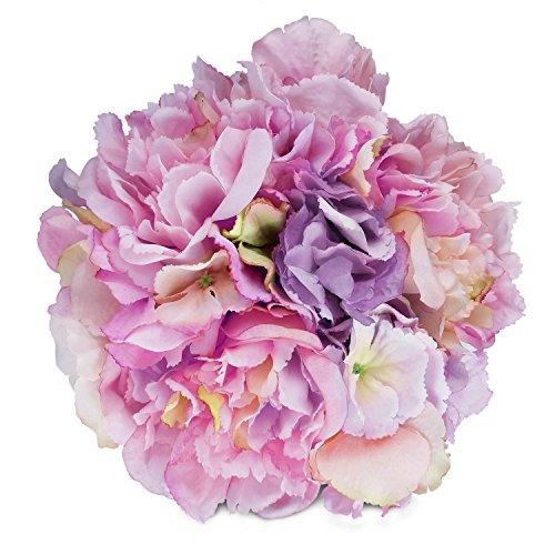 (Artificial Peony Hydrangea SOLEDI Fake Silk Flowers for Bouquet DIY Wedding Home Party Decor (Purple))