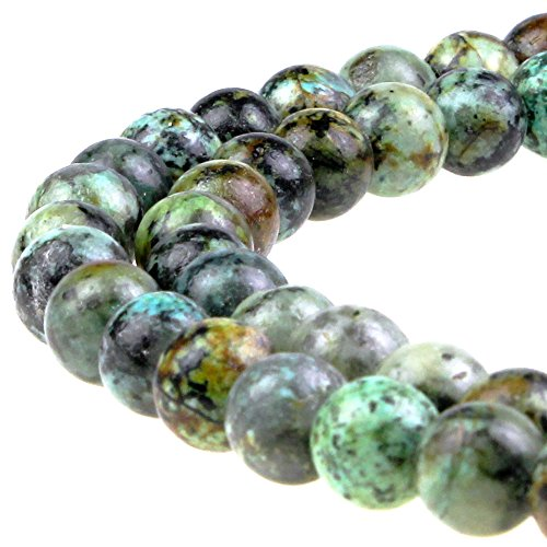"""JarTc Natural African Turquoise Beads Round Loose Stone Beads for Jewelry Making DIY Bracelet Necklace Accessory 15"""" (10mm)"""