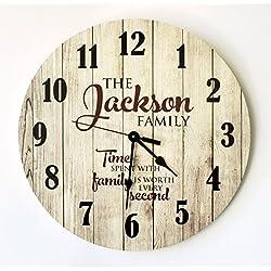 Personalized Rustic Wood Print Clock 18 Diameter