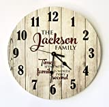 Personalized Rustic Wood Print Clock 18″ Diameter For Sale