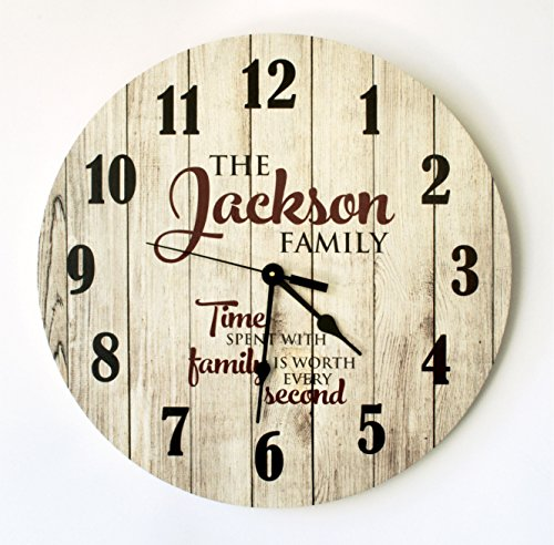 Personalized Rustic Wood Print Clock 18