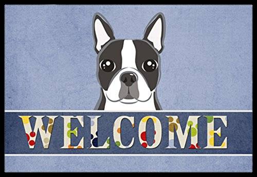 Boston Garden Rug - Caroline's Treasures BB1389MAT Boston Terrier Welcome Indoor or Outdoor Mat, 18 x 27, Multicolor
