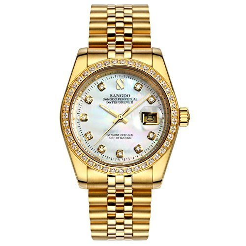 Topwatch® Sangdo Men Diamond-Accented Bezel White Shell Dial 18k Gold Band Automatic Mechanical - White Watch 18k Wrist